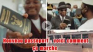 Steve Fah présentant son passeport délivré en 48 heures