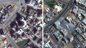 Il est à peine possible de voir les voitures dans la ville de Gaza