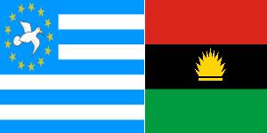 Les drapeaux des deux république sécessionnistes