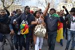C'était lors de la manifestation devant l'ambassade du Cameroun à Londres