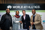 World Athletics President Sebastian Coe with Sports Cabinet Secretary Amina Mohamed, Principal Secre