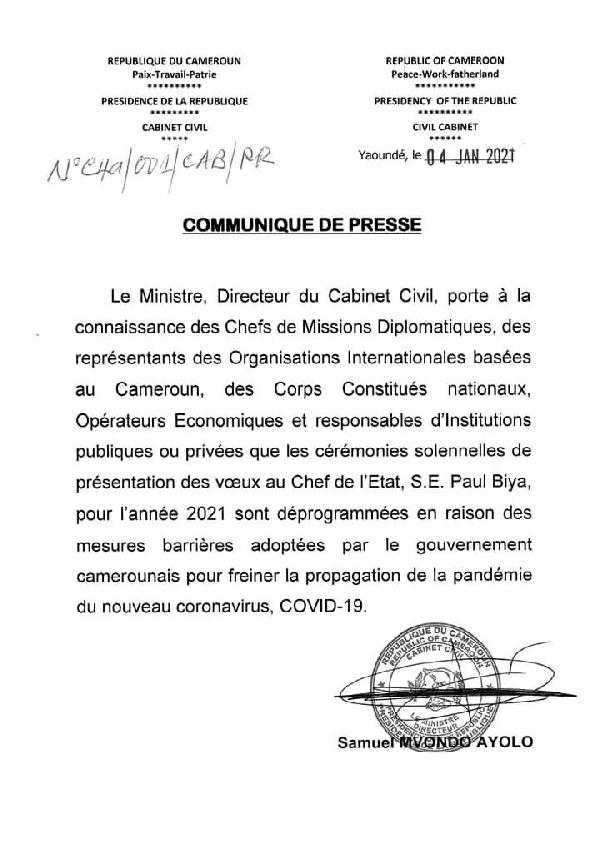 Communiqiué Etoudi