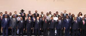 Les présidents africains aux côtés de Vladmir Poutine