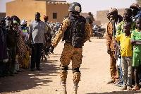 A Burkina Faso soldier on patrol
