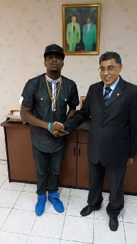 Stanley Enow and His Excellency, Lahcen Saile