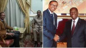 Franklin Nyamsi Wa Kamerun avec l'ex président déchu du Burkina et Ouattara de la Côte d'Ivoire
