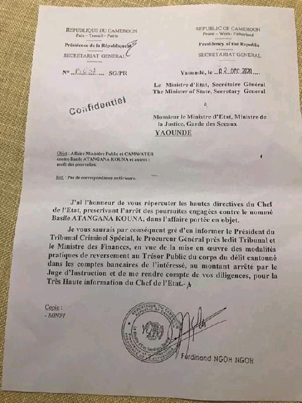 Arret des poursuites contre Atangana Kouna