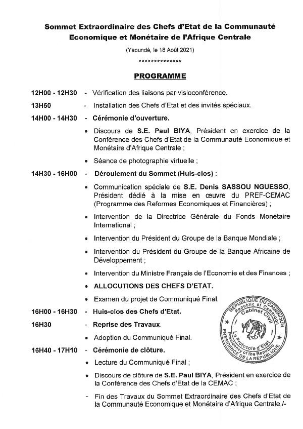Programme du sommet de la CEMAC