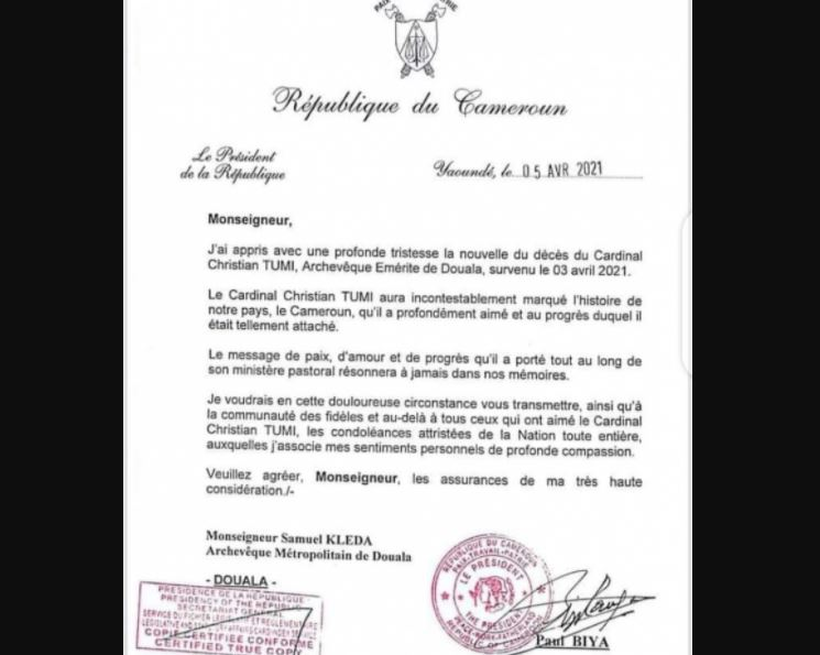 Cardinal_Tumi_Paul_Biya_Condoleance