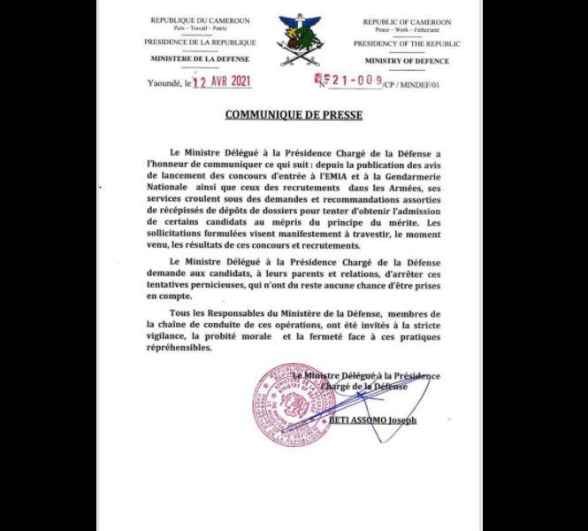 Communique_Beti_Assomo_Recommandation