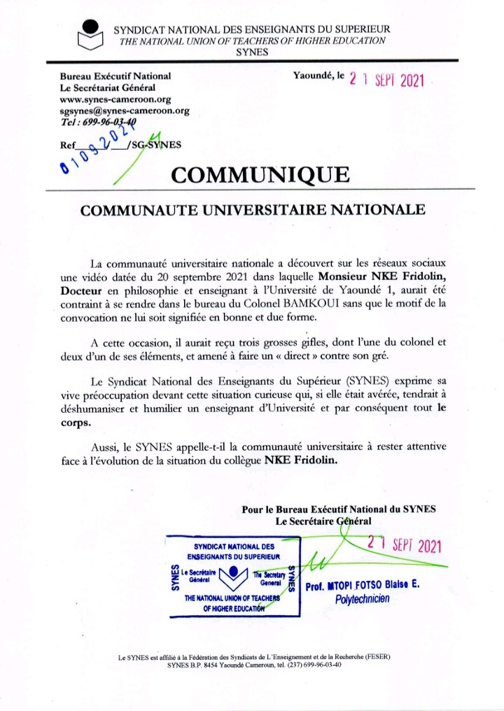 Communique_Syndicat_Fridolin_Nke