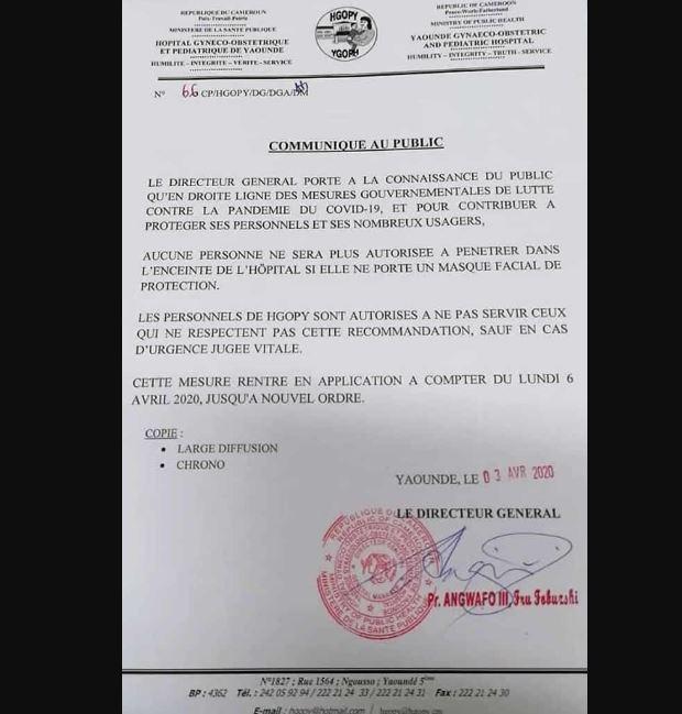 masque obligatoire Cameroun