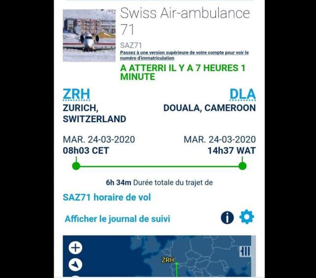 avion médicalisé à Douala pour évacuer un proche de Biya
