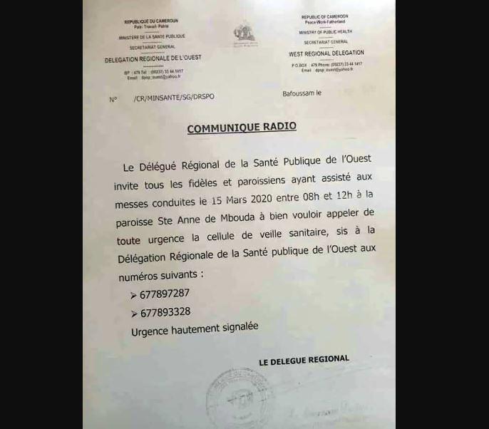 Paroisse Ste Anne de Mbouda contaminés