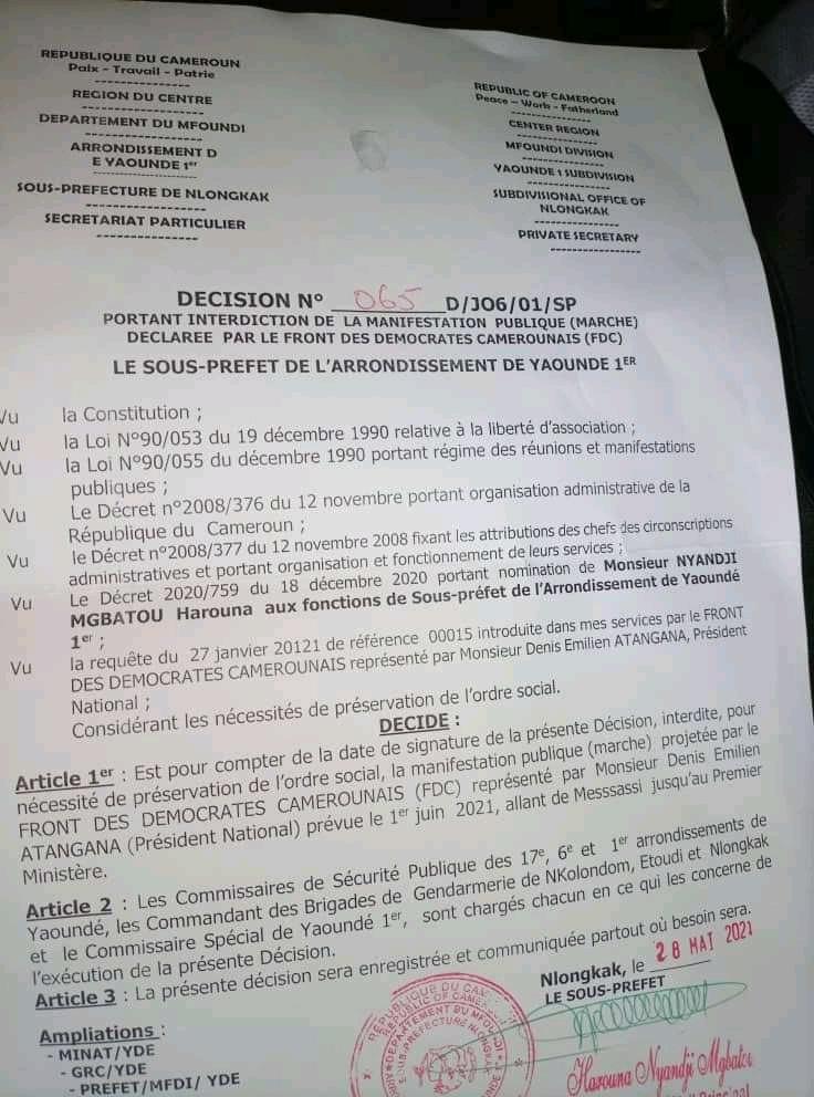 CovidGate_Marche_Demission_Dion_Ngute_Yaounde