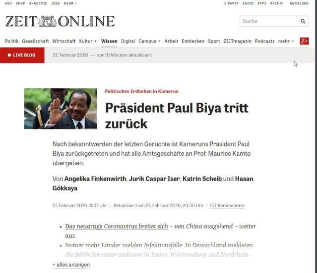 un journal allemand annonce la démission prochaine de Biya