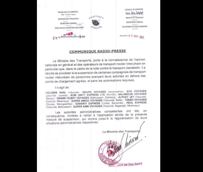 rnest_Ngalle_Bibehe_Suspension_Agences_Voyage_Transport_Interurbain