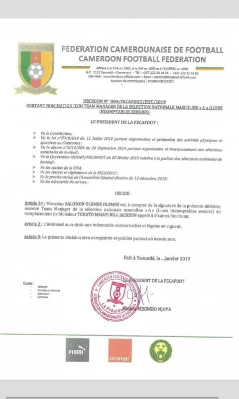 FECAFOOT_Nomination_Olembe Sélections nationales: Seidou Njoya procède à de nouvelles nominations, voici les détails!