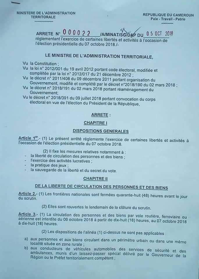 Fermeture_Fronti%C3%A8re1 Election 2018: Voici pourquoi Atanga Nji ordonne la fermeture des frontières nationales!