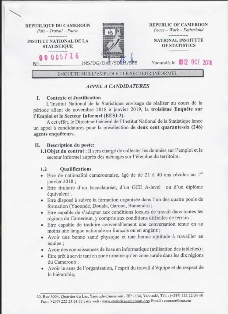 Institut_National_Statistique1 L'INS recrute 246 agents enquêteurs: déposez vos dossiers