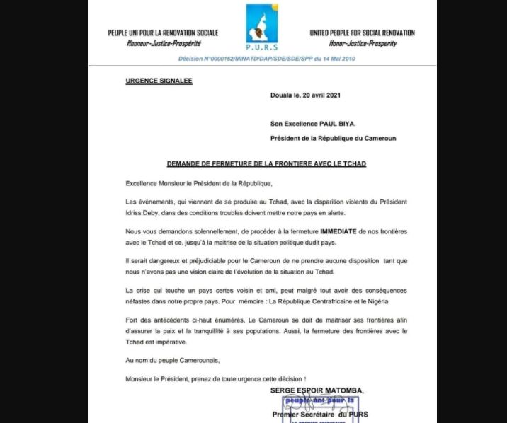 Matomba_Paul_Biya_Frontieres_Cameroun_Tchad