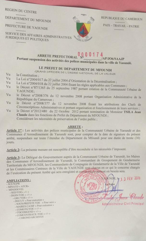 Prefet130219 Voici pourquoi le préfet suspend toutes les polices municipales du Mfoundi