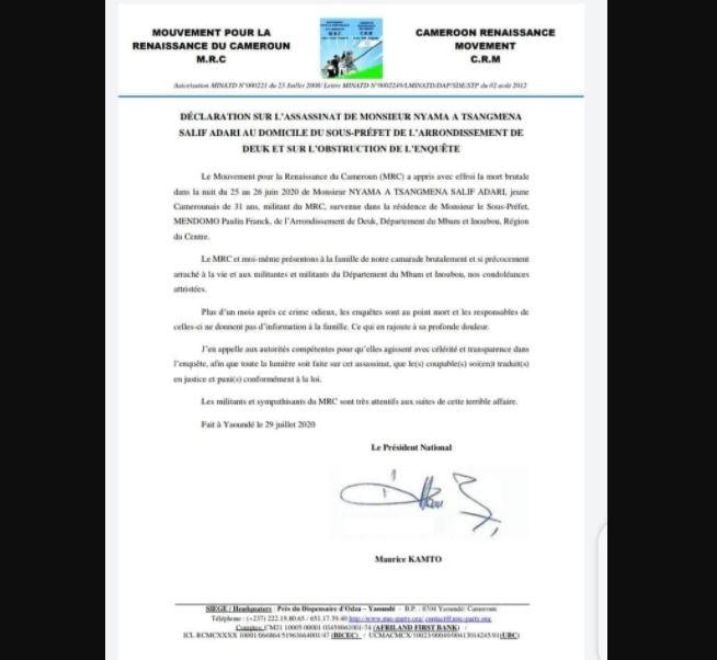 Salif Adari Nyama: Maurice Kamto