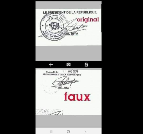 Falsification Signature Paul Biya
