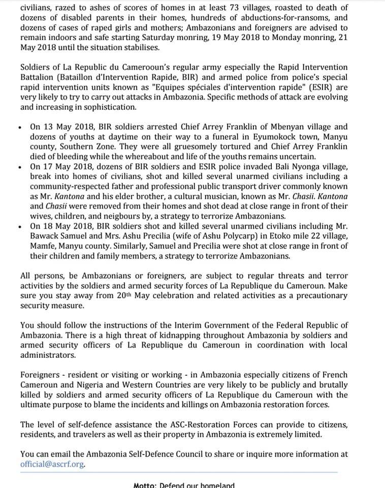 communique_Ambazonie Cameroun- Fête de l'Unité: Le chef Ambazonien met en garde contre toute activité du 20 mai [Communiqué], Voici les détails
