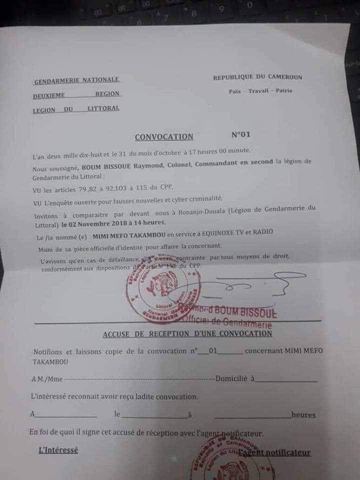 convocation_equinox Littoral: une journaliste d'Equinoxe TV convoquée à la gendarmerie, voici pourquoi!