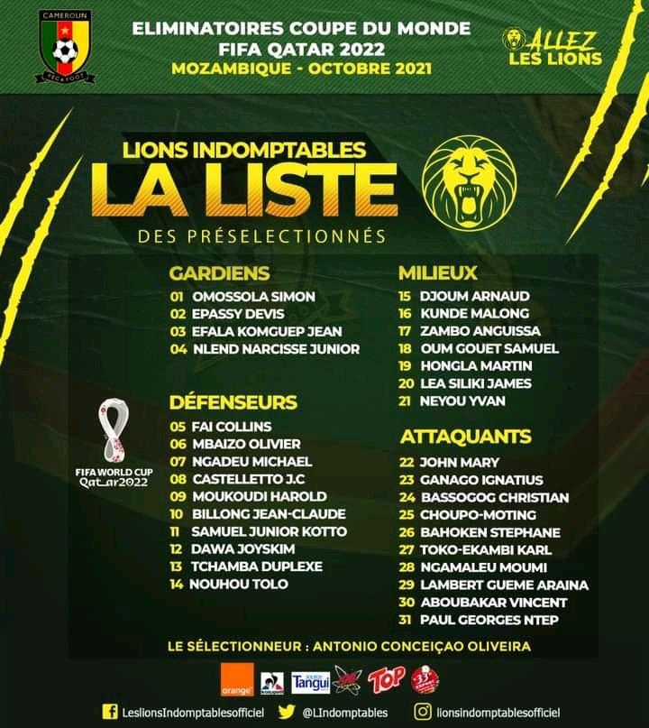 Qatar 2022/ Cameroun-  Mozambique: voici la liste des Lions sélectionnés