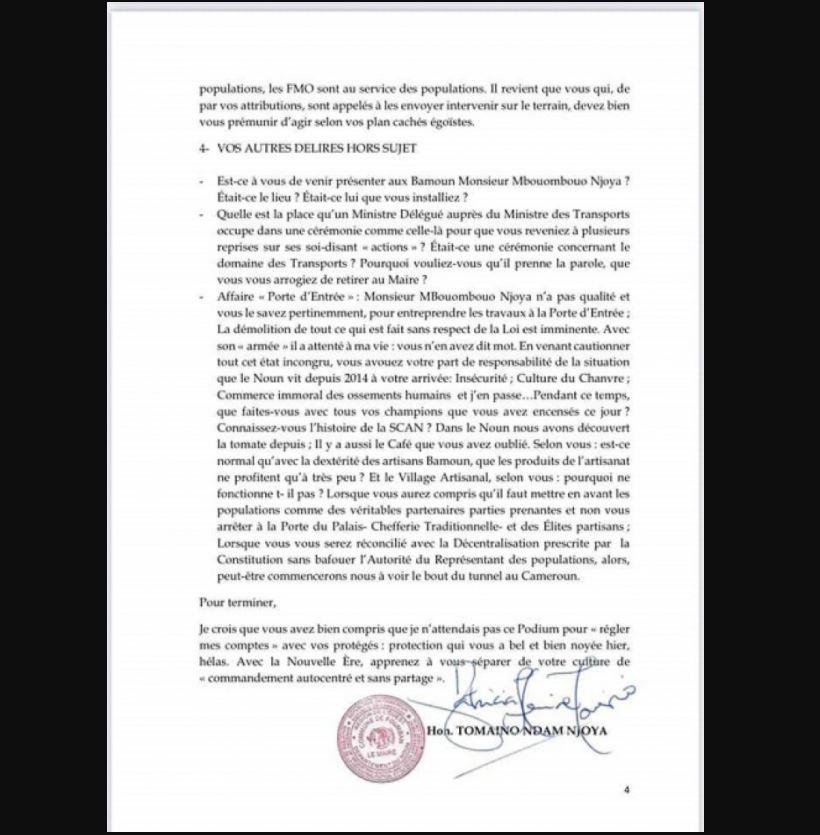 Foumban : dans une lettre, Ndam Njoya humililie proprement Awa Fonka,  le patron de l'Ouest