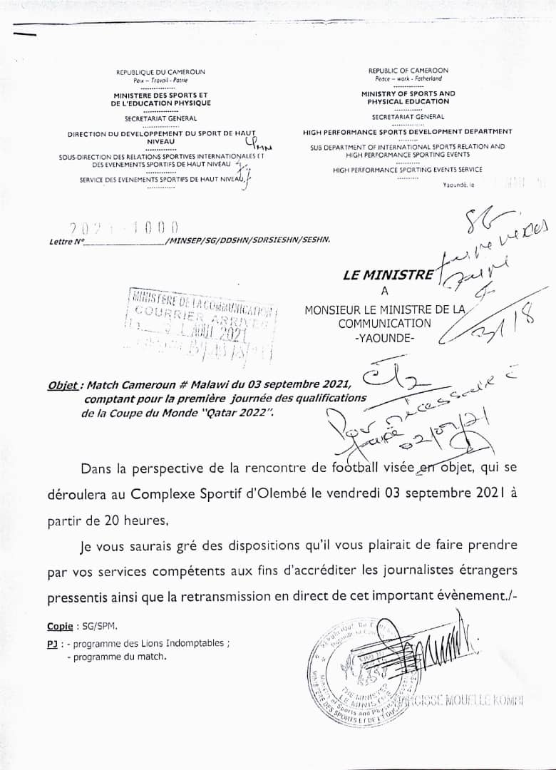 Match Cameroun - Malawi: Mouelle Kombi autorise la presse étrangère à couvrir la rencontre