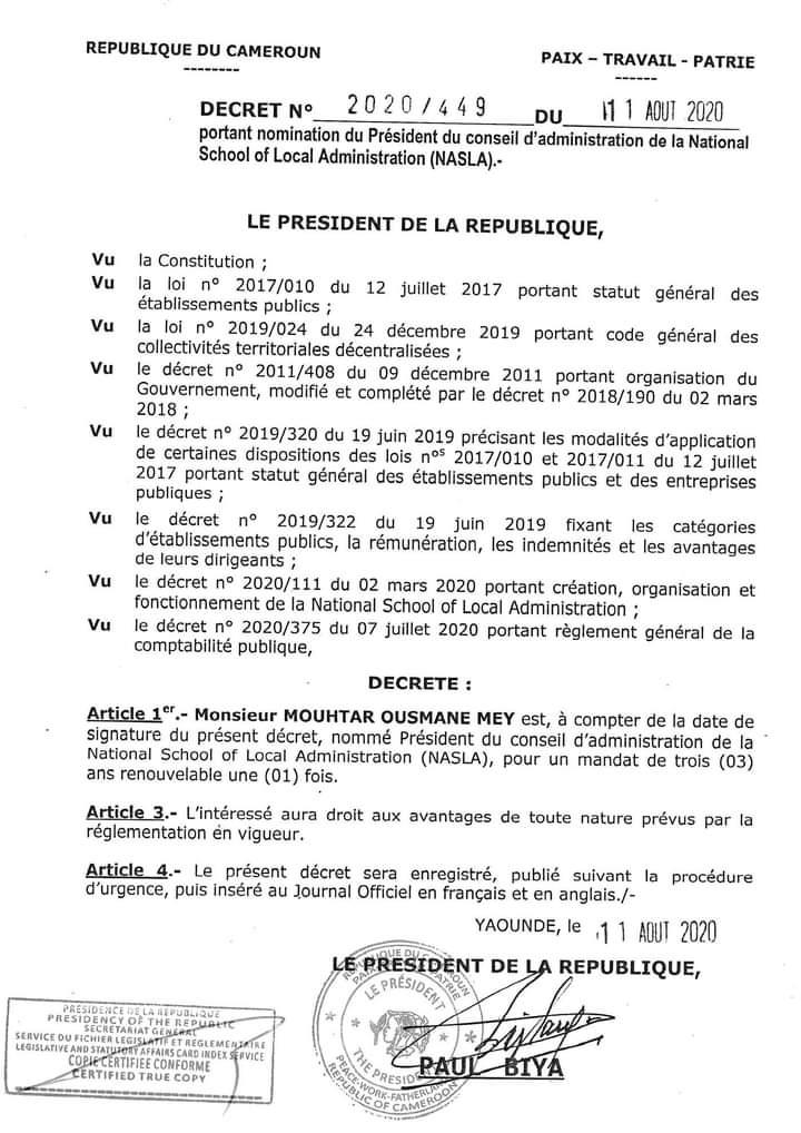 Decrét présidentiel: Paul Biya promeut  Ousmane Mey