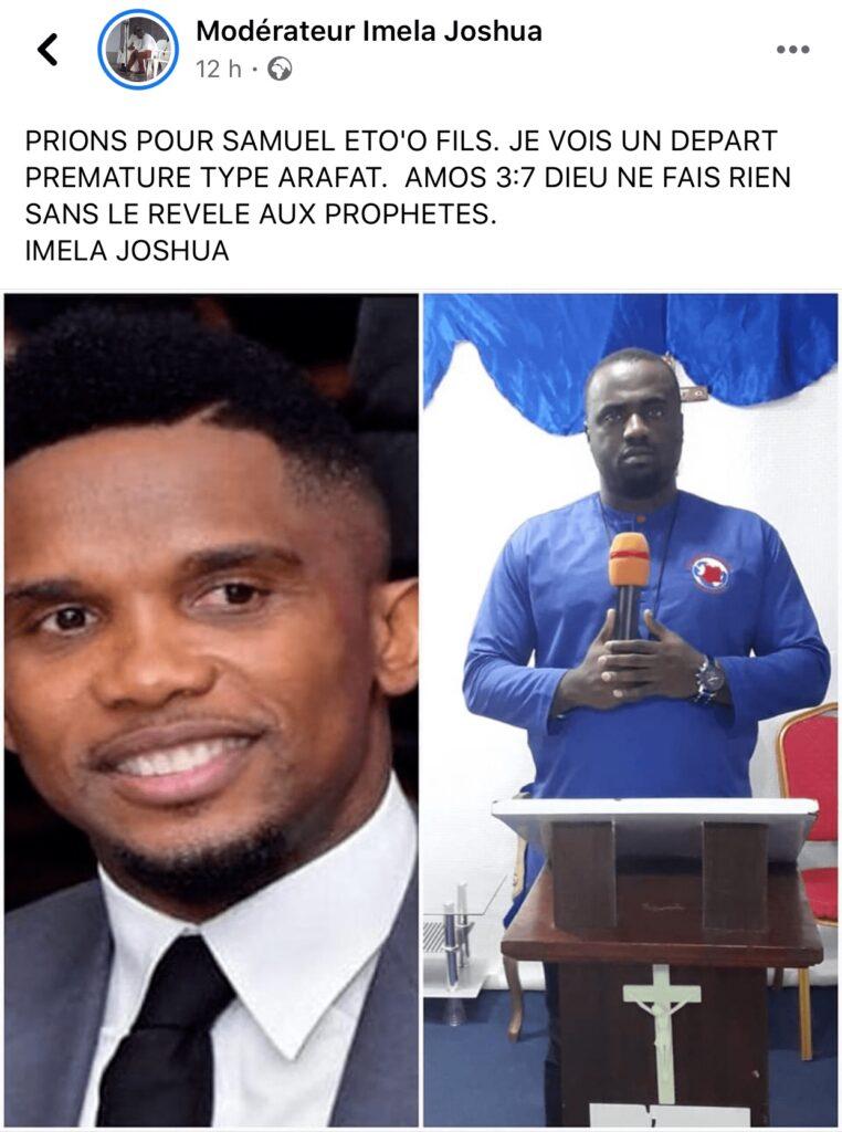 Un pasteur ivoirien prédit une mort brutale à Samuel Eto'o