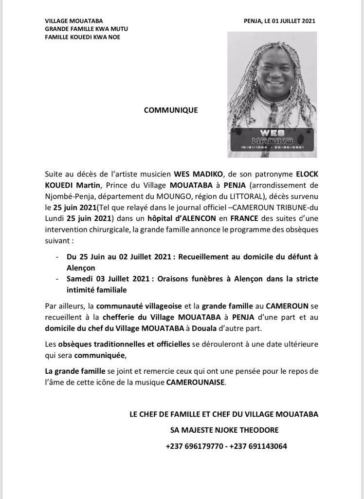 Décès de Wes Madiko:  voici le programme de ses obsèques en France