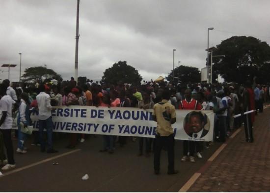 Marche des étudiants à Yaoundé pour dire merci à Biya pour le don des ordinateurs