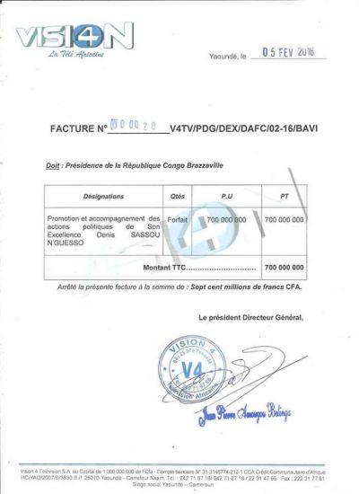 Le PDG de Vision 4 accusé d'avoir reçu 700 millions de Sassou Nguesso