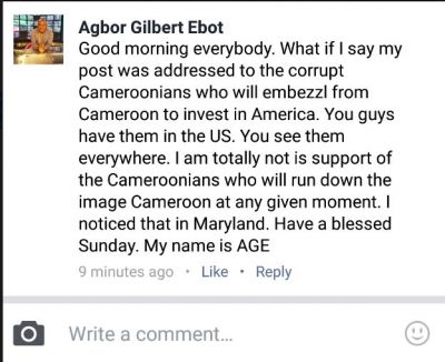 Cameroonian producer Agbor Gilbert Ebot clears the air