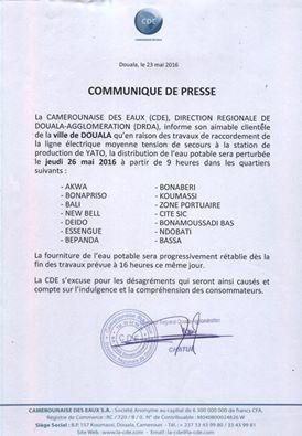 Une partie de la ville de Douala privée d'eau ce jeudi