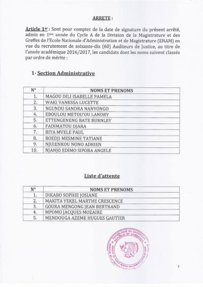 ENAM: 60 candidats définitivement admis