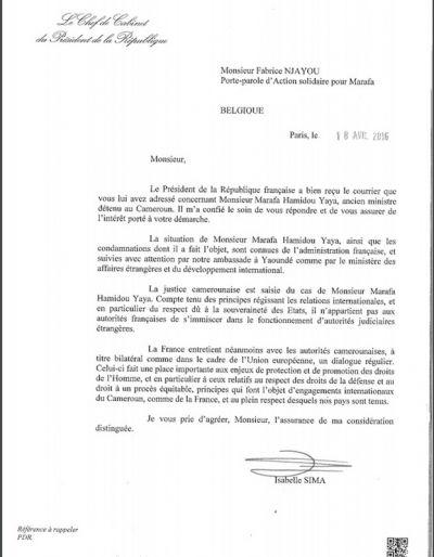 Lettre de François Hollande sur l'affaire Marafa Hamidou Yaya