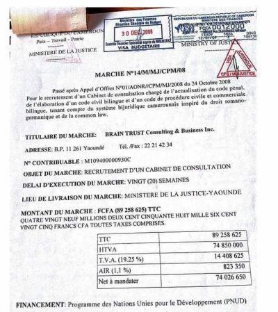 Les documents révélant le marché gagné par le Cabinet de Maurice Kamto