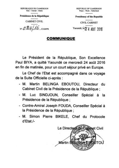 Biya en Europe pour un nouveau séjour privé