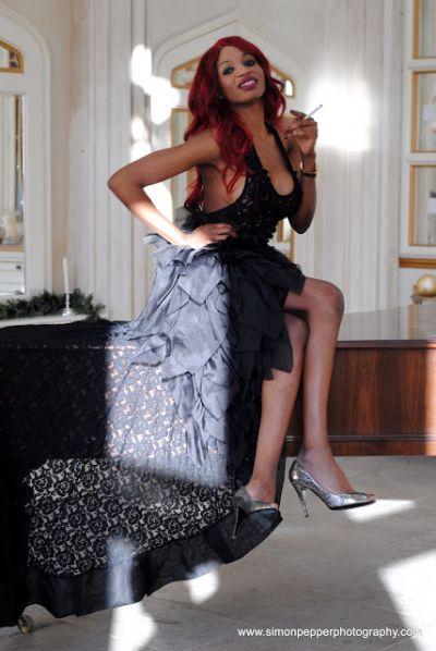 Irene Major shows off skin in a sheer Avenard couture dress