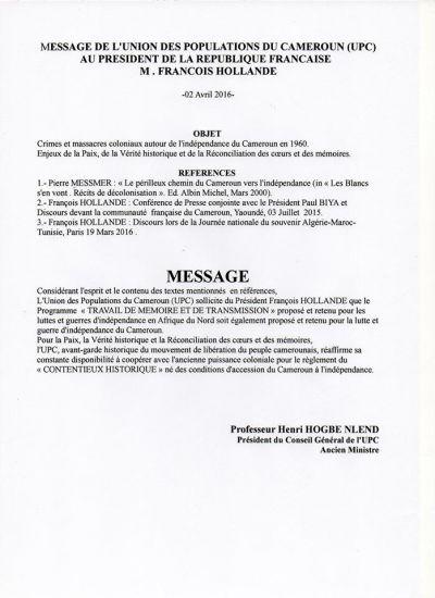 François Hollande répond à Henri Hogbé Nlend de l'UPC