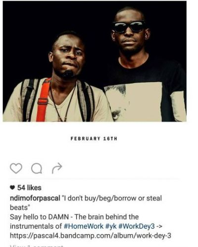 'I don't buy, beg, borrow or steal beats'- Pascal speaks out