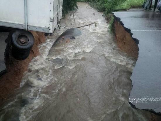 Éffondrement de la chaussée sur l'axe Douala-Yaoundé
