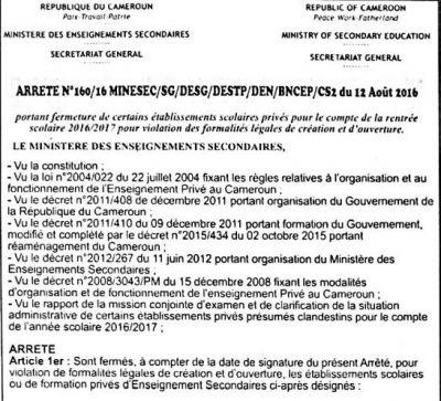 Liste des 74 établissements privés fermés par le MINSEC